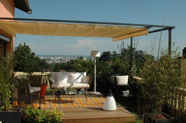pergola sur mesure avec voile r tractable treillage et. Black Bedroom Furniture Sets. Home Design Ideas