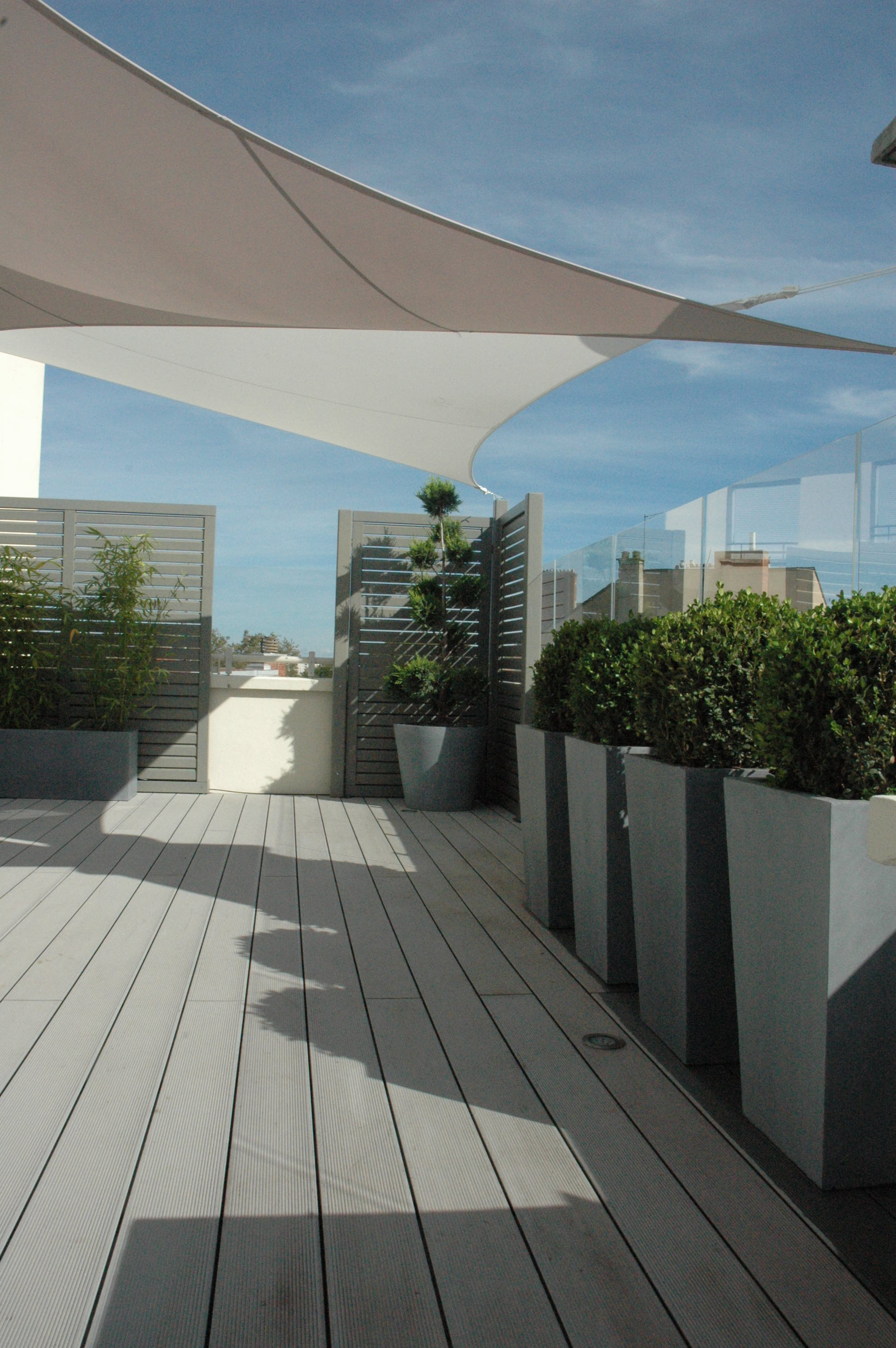 Terrasse transform e par exonido brise vue bacs et for On the terrasse